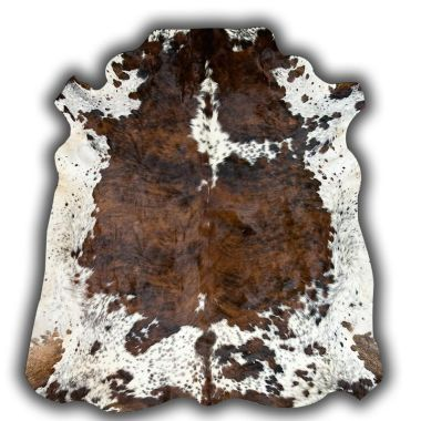 Normandy Leather Cowhide - Brown & White