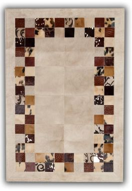 Patchwork Leather Cubed Cowhide - SR4 Beige & Brown