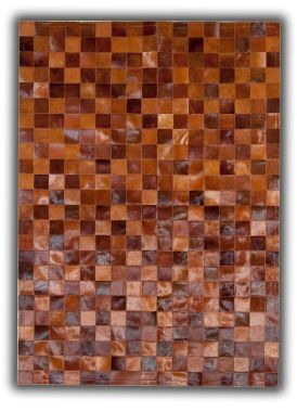 Patchwork Leather Cubed Cowhide - Multi Brown Tones 9