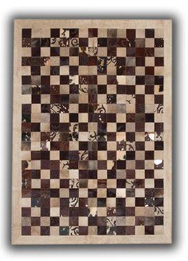 Patchwork Leather Cubed Cowhide - Brown Grabados Beige Border