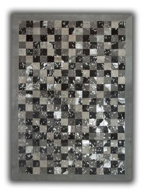 Patchwork Cubed Cowhide - Multi Acid Grey with Silver Border
