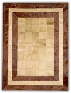 Patchwork Leather Cubed Cowhide - SR2 Beige & Brown
