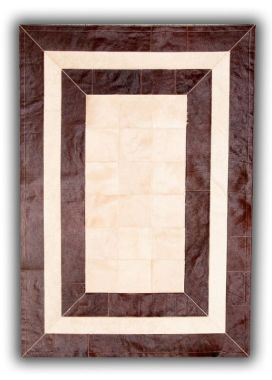 Patchwork Leather Cubed Cowhide - SR2 Brown & Light Beige