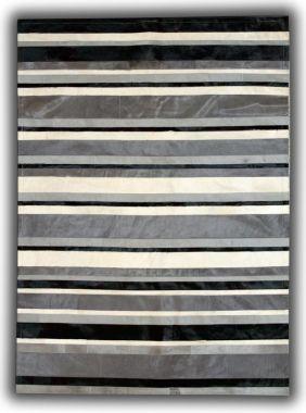 Patchwork Leather Cowhide - ST4 Black Grey stripes