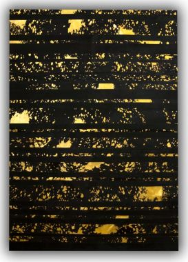 Patchwork Leather Striped Cowhide - Black & Acid Gold