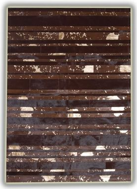 Patchwork Leather Striped Cowhide - Brown & Gold Stripes