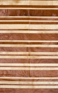 Patchwork Leather Cowhide - ST9-10 Brown & Beige Stripes
