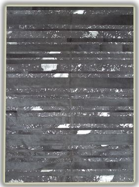 Patchwork Leather Striped Cowhide - Grey Acid Silver Stripes
