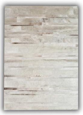 Patchwork Leather Cowhide - ST15 Grey / White Stripes