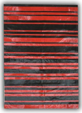 Patchwork Leather Cowhide - ST7-62 Red & Black Stripes