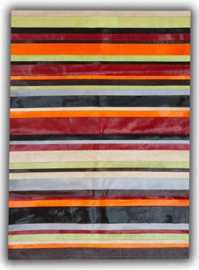 Patchwork Leather Cowhide - Multi Colour Horizontal Stripes