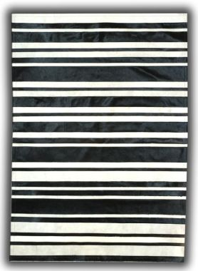 Patchwork Leather Cowhide - ST7-50 Black & White Stripes