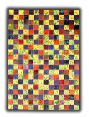 Patchwork Leather Cubed Cowhide - Multi Acid Colours