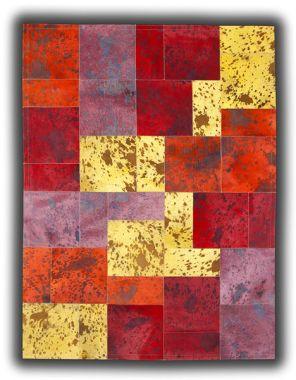 Patchwork Leather Cubed Cowhide - Acid Colours AC2