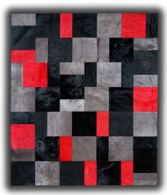 Patchwork Leather Cubed Cowhide - Red Rivoli