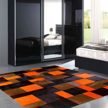 Patchwork Leather Cubed Cowhide - Orange Rivoli