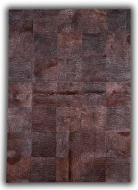 Patchwork Leather Cubed Cowhide - Croco Brown D34