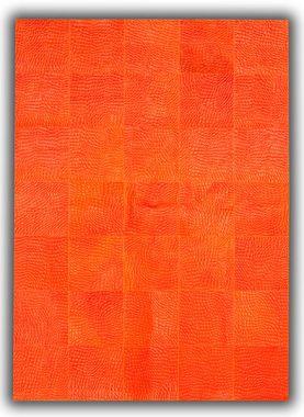 Patchwork Leather Cubed Cowhide - Croco Orange DE14