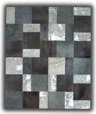 Patchwork Leather Cubed Cowhide - Greys & White Acid Silver