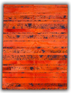 Patchwork Leather Striped Cowhide - Orange & Orange Acid Blue
