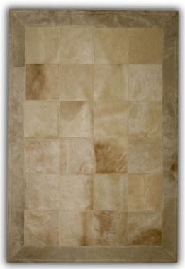 Patchwork Leather Cubed Cowhide - Beige