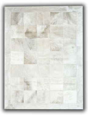 Patchwork Leather Cubed Cowhide - White with border