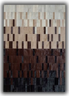 Patchwork Leather Strips Cowhide - Degradada Brown
