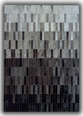 Patchwork Leather Strips Cowhide - Degradada Grey