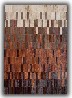 Patchwork Leather Strips Cowhide - Degradada Tan