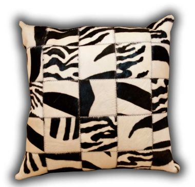 Leather Patchwork Zebra Cushion
