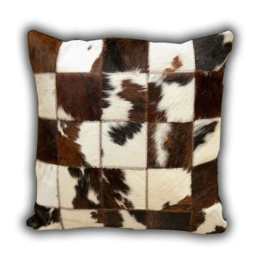 Leather Patchwork Cow Cushion No.1