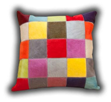 Leather Patchwork Cushion Fancy Colours