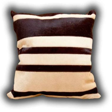 Leather Stripes Cushion Beige & Brown