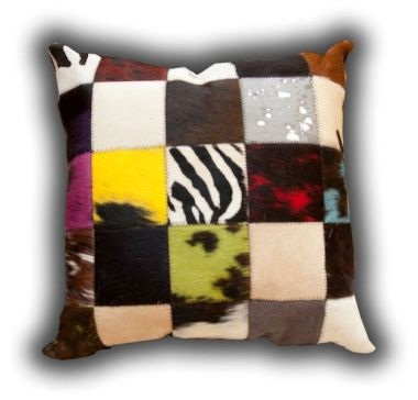 Leather Patchwork Multi Coloured Cushion