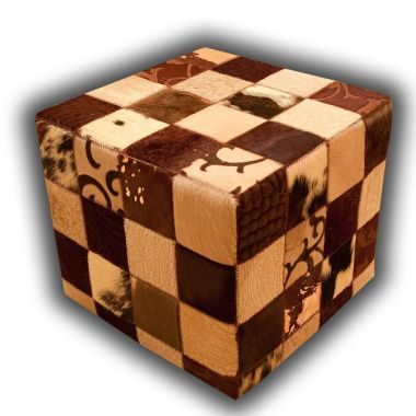 Patchwork Leather Pouf - Grabado