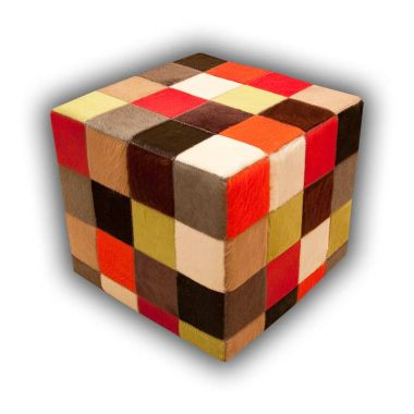Patchwork Leather Pouf - Multi Solid Colours