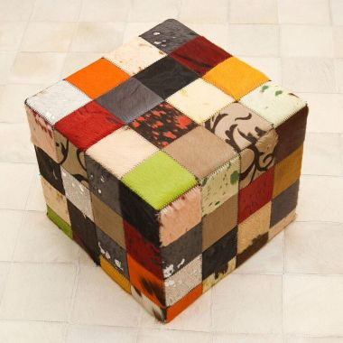 Patchwork Leather Pouf - Multi Solid & Patterned Colours