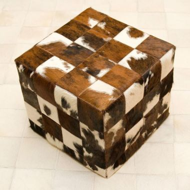 Patchwork Leather Pouf - Normandy Cow