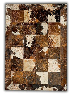 Patchwork Leather Cubed Cowhide - Acid Brown & White