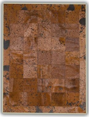 Patchwork Leather Cubed Cowhide - Acid Brown Plain