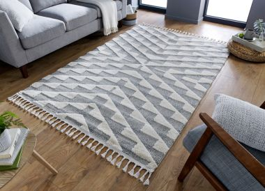Aria Hampton Rugs in Cream / Grey