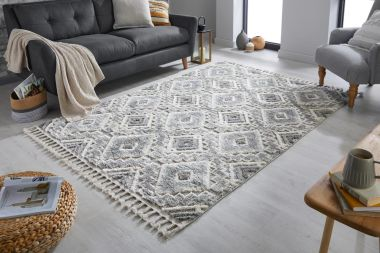 Aria Victoria Rugs in Cream / Grey