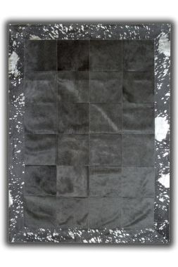 Patchwork Leather Cubed Cowhide - Black with Acid Silver Border