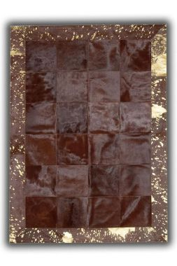 Patchwork Cubed Cowhide - Brown with Gold Acid Border