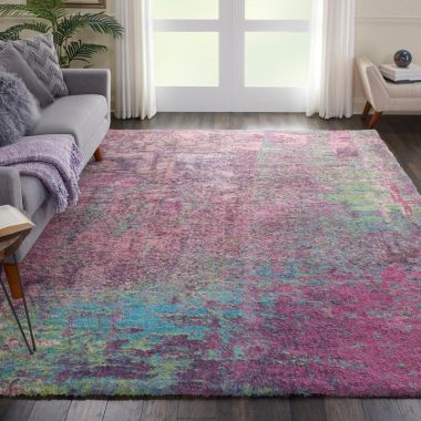Corsica Shaggy Rug in Pink CRC02