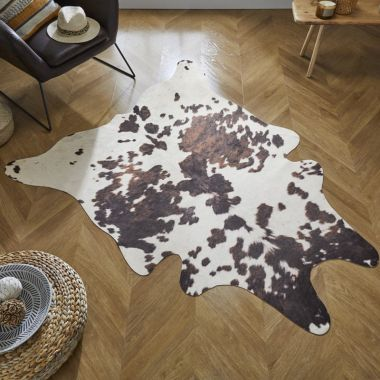 Cow Print Faux Animal Rugs in Brown / Natural