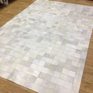 Patchwork Leather Cubed Cowhide - White