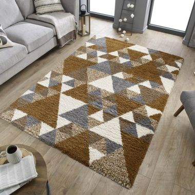 Dakari Nuru Geometric Rugs in Ginger