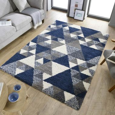 Dakari Nuru Geometric Rugs in Navy
