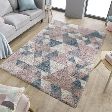Dakari Nuru Geometric Rugs in Pink / Blue